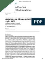 Asiáticos en Lima a principios del siglo XVII