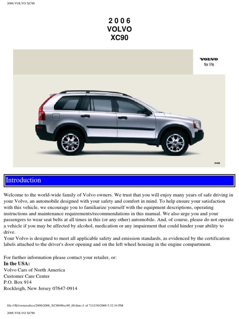 volvo xc90 2006 user manual airbag seat belt rh scribd com 2010 volvo xc90 owners manual pdf 2009 Volvo XC90