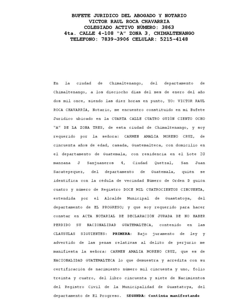Acta Notarial de Nacionalidad.