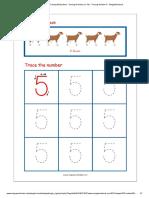 Number Tracing Worksheet - Tracing Numbers (1-10) - Tracing Number 5 - MegaWorkbook