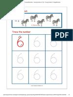 Number Tracing Worksheet - Tracing Numbers (1-10) - Tracing Number 6 - MegaWorkbook