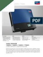 Onduleur Photovoltaique Sma Sunny Tripower 10000tl 10 12000tl 10 15000tl 10 17000tl 10 Fiche Technique