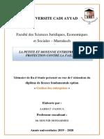 AARBAT Fadoua, Projet de Fin d'Études, Gestion Des Entreprises 2020