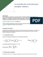 Lois et propriétés circuits électriques