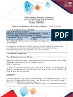 Guía de Actividades y Rúbrica de Evaluación - Unidad 2 - Task 2 - Writing