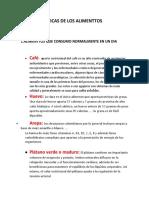 CARACTERISTICAS DE LOS ALIMENTOS