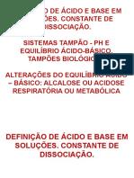 Aula 5 - Tampão, Ácidos e Bases, Ph, Equilibrio Acido - Base
