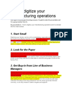 How to Digitize Your Manufacturing Operations