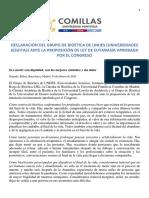 Declaración del Grupo de Bioética de UNIJES ante el proyecto de ley de eutanasia