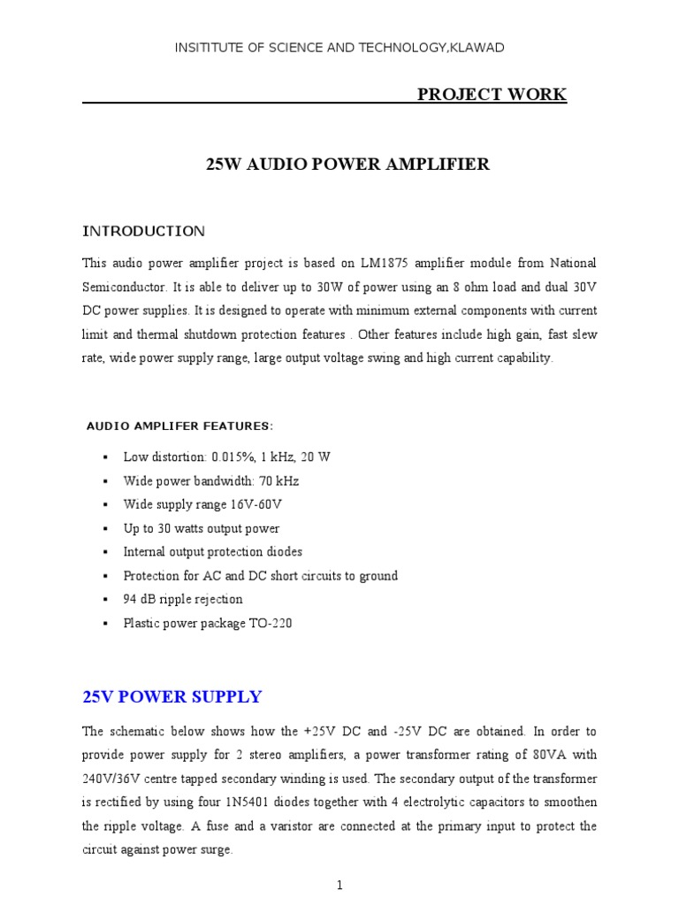25W Audio Power Amplifier | Amplifier | Power Supply
