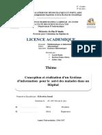 Conception Et Réalisation d'Un Systéme d'Information Pour Le Suivi Des Malades Dans Un Hopital