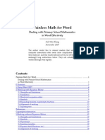 Painless Math for Word