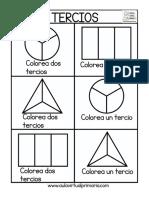 Colorea Fracciones Tercios y Cuartos