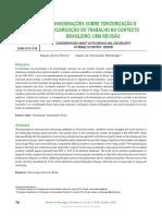 Considerações sobre terceirização e precarização do trabalho no contexto brasileiro. uma revisão