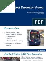Sound Transit - Light Rail Vehicle Fleet Expansion Presentation - February 2021