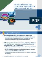 TALLER DE ANÁLISIS DEL TRABAJO DOCENTE Y DISEÑO DE PROPUESTAS DIDÁCTICAS
