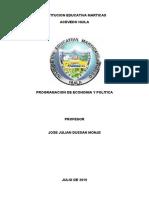 PROGRAMACIÓN  DE ECONOMÍA Y POLÍTICA
