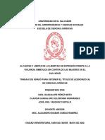 ALCANCES Y LÍMITES DE LA LIBERTAD DE EXPRESIÓN FRENTE A LA VIOLENCIA SIMBÓLICA EN CONTRA DE LAS MUJERES EN EL SALVADOR