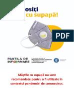Măștile cu supapă nu sunt recomandate pentru a fi utilizate în contextul pandemiei de coronavirus