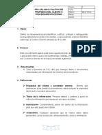 PRC-CAL-00011 Procedimiento propiedad perteneciente a los clientes o proveedores externos