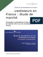 Principales constatations d'etude de marche 2013 sur les investisseurs en France