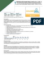 Ficha Tecnica de Golden Sea Artemia SUMACUA