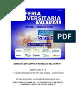 INFORMACIÓN CONCURSOS Y PARICIPACIÓN 1° FERIA UNIVERSITARIA VIRTUAL URABÁ - CHOCÓ 2020