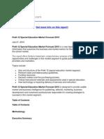 PreK-12 Special Education Market Forecast 2010