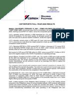 CHP 4Q20 Press Release (FINAL)