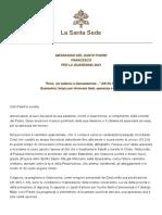 Papa Francesco  Messaggio Quaresima 2021