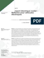 Doc ref_Transport électrique routier – Batteries pour véhicules électriques