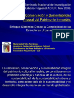 Tello María Isabel Valoración Conservación y Sustentabilidad Integral del Patrimonio Inmueble ponencia aciur