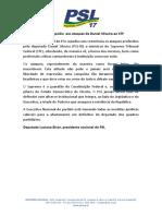 Nota do PSL sobre ataques do deputado Daniel Silveira