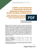 2018_Valadão_Alcântara_Cordeiro Neto_Consulta Pública Como Instrumento de Ação_controvérsias Em Torno Da Exploração Da Água Mineral No Circuito Das Águas Em Minas Gerais