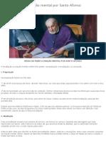 Modo de fazer a oração mental por Santo Afonso – Controvérsia Católica