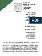 02.24.11_Emerging Technologies Librarian - The Library - University of California, Berkeley