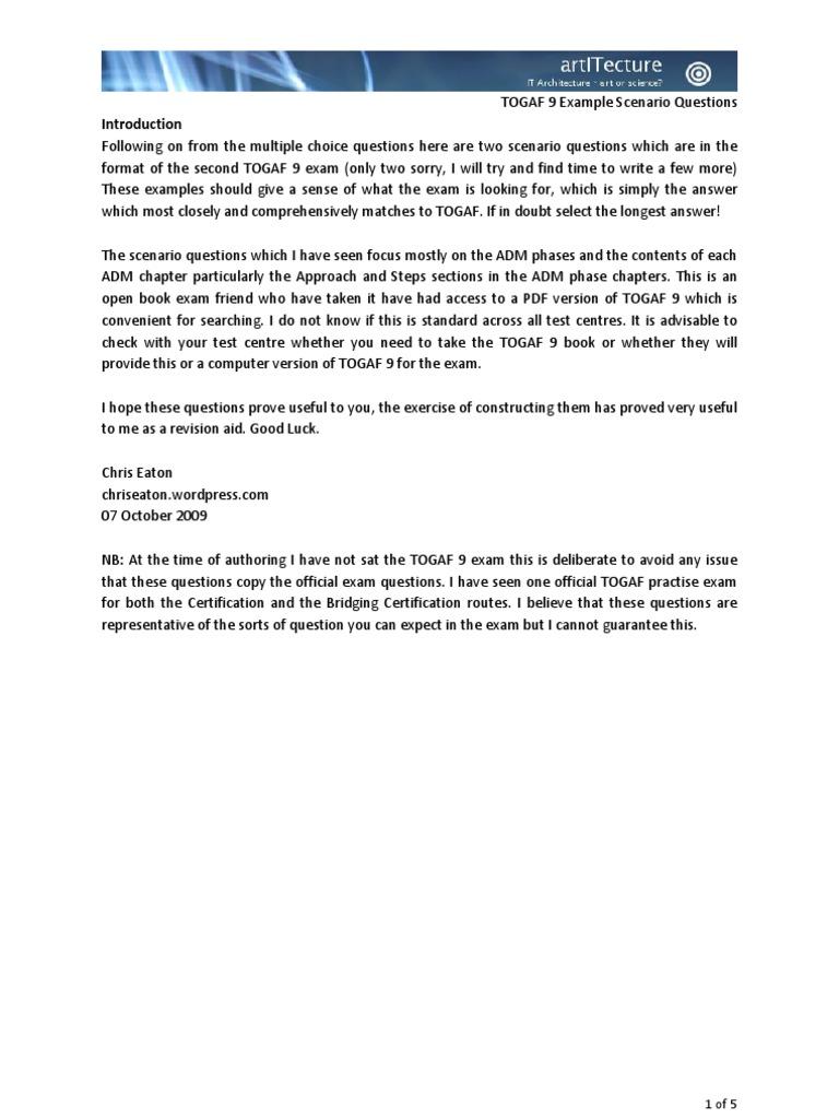 Togaf 9 scenario questions test assessment project management xflitez Gallery