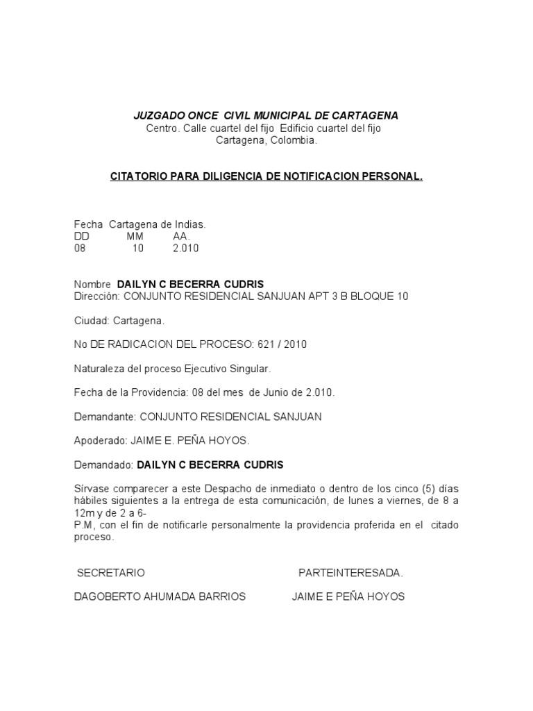 Citatorio juzgado once for Acta familiar