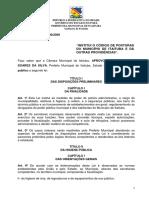 Lei Municipal n° 2000-2009 - INSTITUI O CÓDIGO DE POSTURAS DO MUNICÍPIO DE ITAITUBA