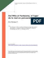 Eric Moreau P. (2001). Del Mito Al Fantasma, El Lugar de Lo Real en Psicoanalisis