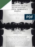 PRESENTACION DE LAS COMUNICACIONES ASERTIVA,AGRESIVA Y PASIVA