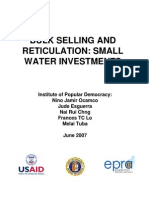 Bulk Selling and Reticulation Small Water Investment