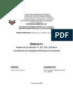 Análisis de los artículos 15, 322, 323 y 328 de la CRBV