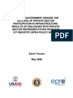 How Can Government Ensure the Success of Private Sector Participation in Infrastructure Results o