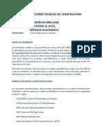 ESPECIFICACIONES TECNICAS CONSTRUCCION RESIDENCIAL
