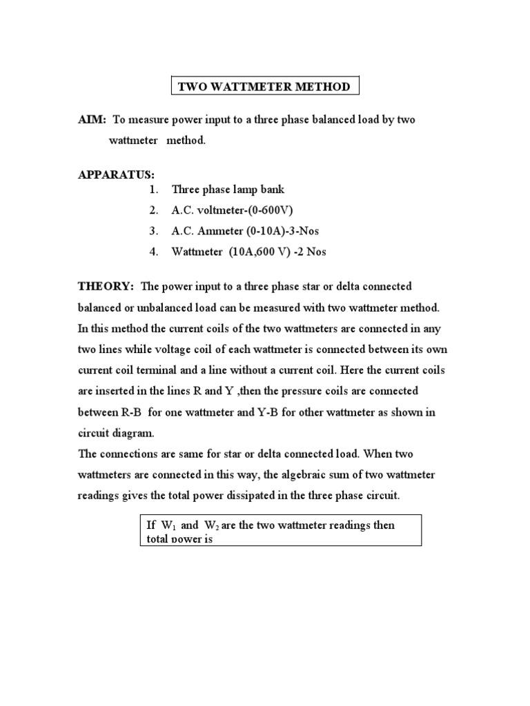 2 wattmeter method | Transformer | Voltage