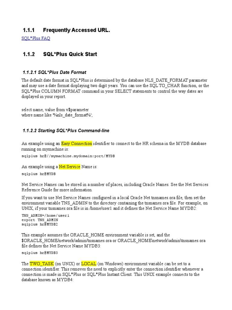 SQL Plus Notes   Oracle Database   Sql