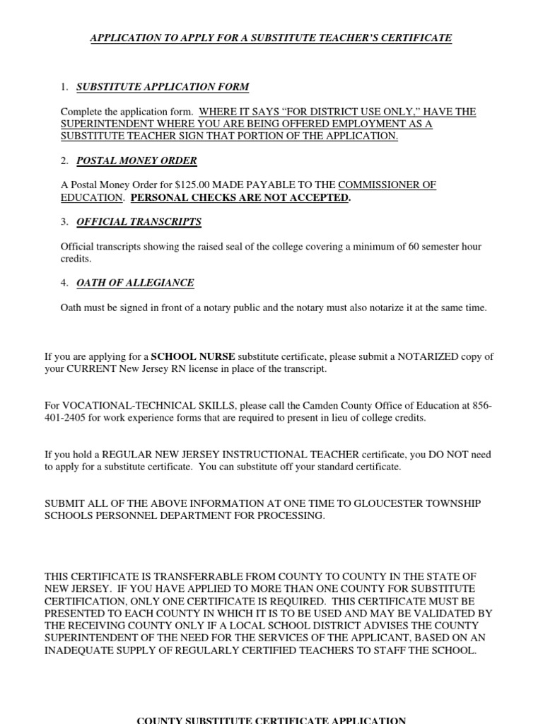 Sub Tchr Cert Application Notary Public Oath Of Office