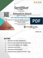 Rahmahani Aisyah E-Sertifikat HPK 06 February 2021