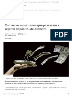 Os bancos americanos que passaram a rejeitar depósitos de dinheiro - BBC News Brasil